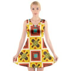 Retro colors squares pattern                        V-Neck Sleeveless Dress