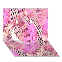 Pretty Pink Circles Curves Pattern Heart 3d Greeting Card (7x5) by CrypticFragmentsDesign