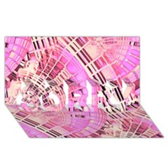 Pretty Pink Circles Curves Pattern Sorry 3d Greeting Card (8x4) by CrypticFragmentsDesign