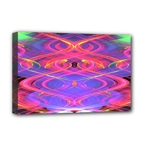 Neon Night Dance Party Pink Purple Deluxe Canvas 18  X 12   by CrypticFragmentsDesign