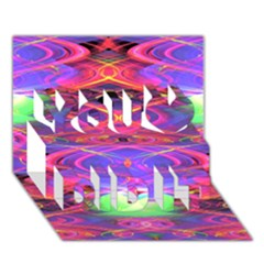Neon Night Dance Party Pink Purple You Did It 3d Greeting Card (7x5) by CrypticFragmentsDesign