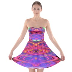 Neon Night Dance Party Pink Purple Strapless Dresses by CrypticFragmentsDesign