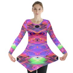 Neon Night Dance Party Pink Purple Long Sleeve Tunic  by CrypticFragmentsDesign