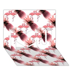 Flamingo Pineapple Tropical Pink Pattern I Love You 3d Greeting Card (7x5)  by CrypticFragmentsColors