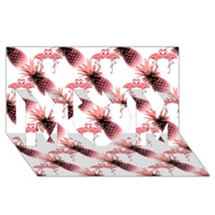 Flamingo Pineapple Tropical Pink Pattern Mom 3d Greeting Card (8x4)  by CrypticFragmentsColors