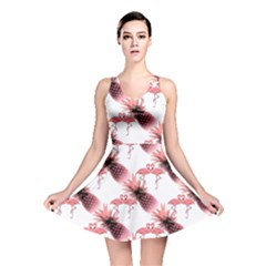 Flamingo Pineapple Tropical Pink Pattern Reversible Skater Dress by CrypticFragmentsColors