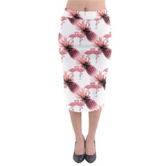Flamingo Pineapple Tropical Pink Pattern Midi Pencil Skirt by CrypticFragmentsColors