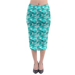 Aquamarine Geometric Triangles Pattern Midi Pencil Skirt by KirstenStar