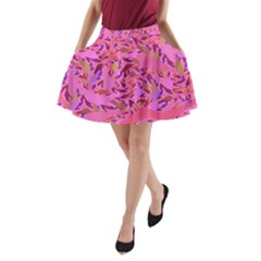 Bright Pink Confetti Storm A Line Pocket Skirt by KirstenStar