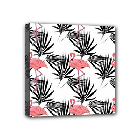 Flamingos Palmetto Fronds Tropical Pattern Mini Canvas 4  X 4  by CrypticFragmentsColors