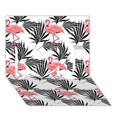 Flamingos Palmetto Fronds Tropical Pattern I Love You 3d Greeting Card (7x5)  by CrypticFragmentsColors