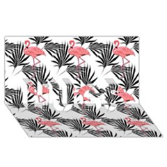 Flamingos Palmetto Fronds Tropical Pattern Hugs 3d Greeting Card (8x4)  by CrypticFragmentsColors