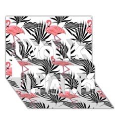Flamingos Palmetto Fronds Tropical Pattern Work Hard 3d Greeting Card (7x5)  by CrypticFragmentsColors