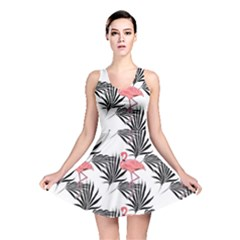 Flamingos Palmetto Fronds Tropical Pattern Reversible Skater Dress by CrypticFragmentsColors