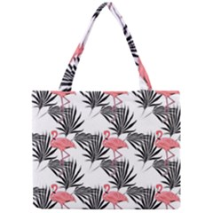 Flamingos Palmetto Fronds Tropical Pattern Mini Tote Bag by CrypticFragmentsColors