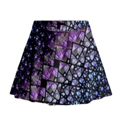 Dusk Blue and Purple Fractal Mini Flare Skirt by KirstenStar