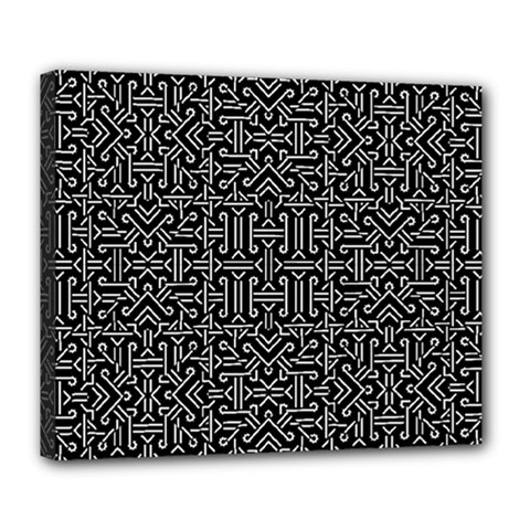Black And White Ethnic Sharp Geometric  Deluxe Canvas 24  X 20   by dflcprints
