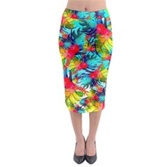 Watercolor Tropical Leaves Pattern Midi Pencil Skirt by TastefulDesigns