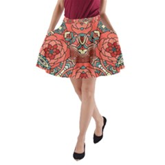 Petals, Pale Rose, Bold Flower Design A Line Pocket Skirt by Zandiepants