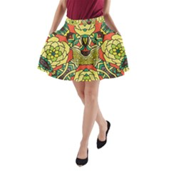 Petals   Retro Yellow   Bold Flower Design A Line Pocket Skirt by Zandiepants