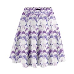 Floral Stripes Pattern High Waist Skirt by dflcprintsclothing