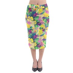 Tropical Flowers And Leaves Background Midi Pencil Skirt by TastefulDesigns