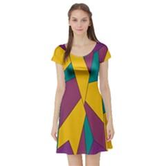 Bursting Star Poppy Yellow Violet Teal Purple Short Sleeve Skater Dress by CircusValleyMall