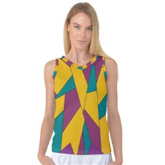 Bursting Star Poppy Yellow Violet Teal Purple Women s Basketball Tank Top