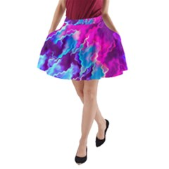 Stormy Pink Purple Teal Artwork A-Line Pocket Skirt by KirstenStar
