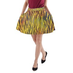 Colored Tiger Texture Background A Line Pocket Skirt by TastefulDesigns