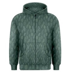 Whimsical Feather Pattern, Forest Green Men s Zipper Hoodie by Zandiepants