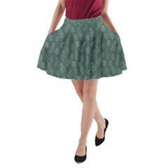 Whimsical Feather Pattern, Forest Green A-Line Pocket Skirt by Zandiepants