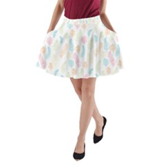 Whimsical Feather Pattern,fresh Colors, A Line Pocket Skirt by Zandiepants