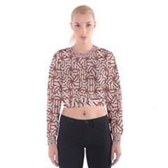 Interlace Tribal Print Women s Cropped Sweatshirt
