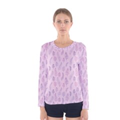 Whimsical Feather Pattern, Pink & Purple, Women s Long Sleeve Tee by Zandiepants