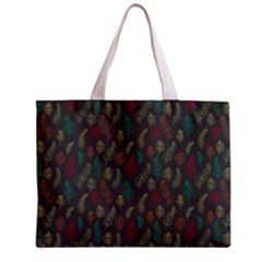 Whimsical Feather Pattern, Autumn Colors, Zipper Mini Tote Bag by Zandiepants