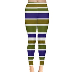 Olive Green Blue Stripes Pattern Leggings  by BrightVibesDesign