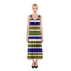 Olive Green Blue Stripes Pattern Sleeveless Maxi Dress by BrightVibesDesign