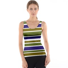 Olive Green Blue Stripes Pattern Tank Top by BrightVibesDesign