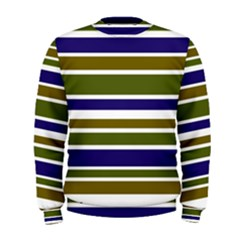 Olive Green Blue Stripes Pattern Men s Sweatshirt by BrightVibesDesign