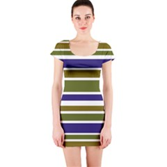 Olive Green Blue Stripes Pattern Short Sleeve Bodycon Dress by BrightVibesDesign