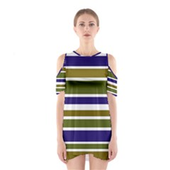 Olive Green Blue Stripes Pattern Cutout Shoulder Dress by BrightVibesDesign