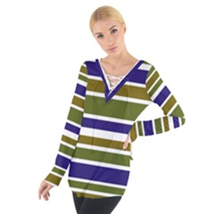 Olive Green Blue Stripes Pattern Women s Tie Up Tee by BrightVibesDesign