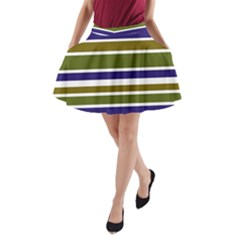 Olive Green Blue Stripes Pattern A-Line Pocket Skirt by BrightVibesDesign