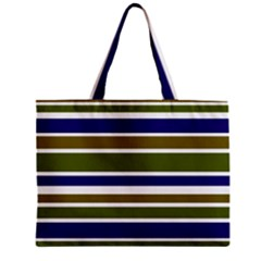 Olive Green Blue Stripes Pattern Zipper Mini Tote Bag by BrightVibesDesign