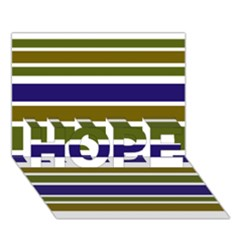 Olive Green Blue Stripes Pattern Hope 3d Greeting Card (7x5)  by BrightVibesDesign