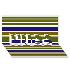 Olive Green Blue Stripes Pattern Hugs 3d Greeting Card (8x4)  by BrightVibesDesign