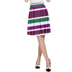 Purple Green Stripes A Line Skirt by BrightVibesDesign