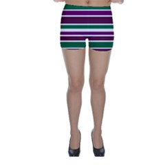 Purple Green Stripes Skinny Shorts by BrightVibesDesign