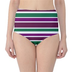 Purple Green Stripes High Waist Bikini Bottoms by BrightVibesDesign